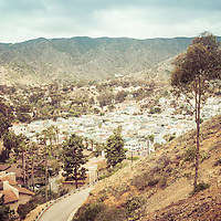 Catalina Island city of Avalon, California from above in the mountains. Santa Catalina Island is a popular travel and vacation destination off the coast of Southern California in the United States.