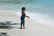 Similan Islands. The pristine beaches of Ko Miang. Thai tourist girl.