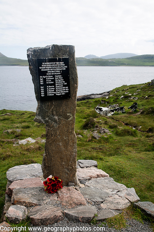 Memorial at the Catalina plane crash site May 1944 on Vatersay island, Barra, Outer Hebrides, Scotland, UK