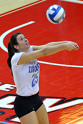 23 November 2017:  Cathryn Cheek bumps the ball to keep it in play during a college women's volleyball match between the Drake Bulldogs and the Indiana State Sycamores in the Missouri Valley Conference Tournament at Redbird Arena in Normal IL (Photo by Alan Look)