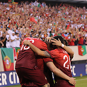 Portugal celebrates a goal by Hugo Almeida during the Portugal V Ireland International Friendly match in preparation for the 2014 FIFA World Cup in Brazil. MetLife Stadium, Rutherford, New Jersey, USA. 10th June 2014. Photo Tim Clayton
