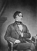 Franklin Pierce (1804-1869) American lawyer and politician,  14th President of the United States 1853-1857 . Three-quarter length portrait of Pierce seated and looking towards the right, 1855-1865.