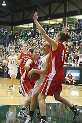 18 March 2011: Hope Schulte gets double teamed in the paint during an NCAA Womens basketball game between the Washington University Bears and the Illinois Wesleyan Titans at Shirk Center in Bloomington Illinois.