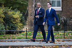 © Licensed to London News Pictures. 28/10/2019. London, UK. Minister Without Portfolio James Cleverly (L) on Downing Street. MPs will vote today on whether to hold a general election in early December. Photo credit: Rob Pinney/LNP