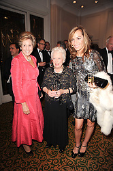 Left to right, DAME NORMA MAJOR, JUNE WHITFIELD and TARA PALMER-TOMKINSON at a gala dinner in celebration of 80 years since the first Foyles Literary Luncheon, held in The Ball Room, Grosvenor House Hotel, Park Lane, London on 21st October 2010.