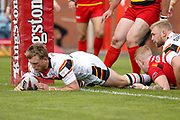Bradford Bulls scrum half Cory Aston (41) scores a try to make the score 0-4 during the Kingstone Press Championship match between Dewsbury Rams and Bradford Bulls at the Tetley's Stadium, Dewsbury, United Kingdom on 10 September 2017. Photo by Simon Davies.