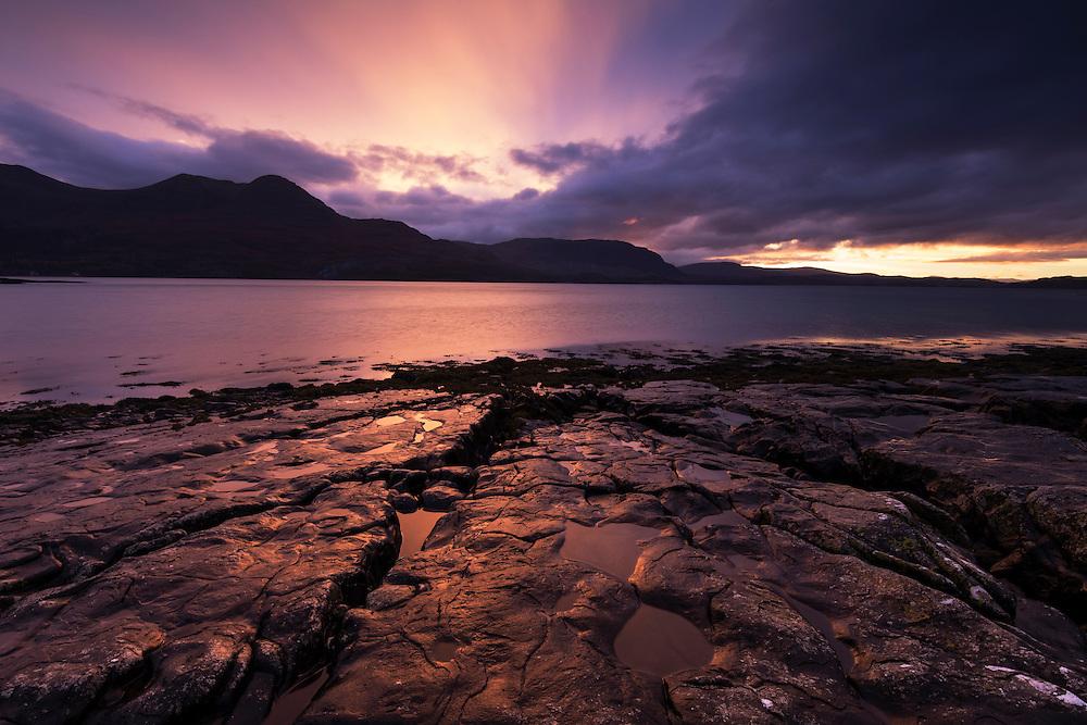 Sunset over Loch Torridon, Wester Ross, Scotland.