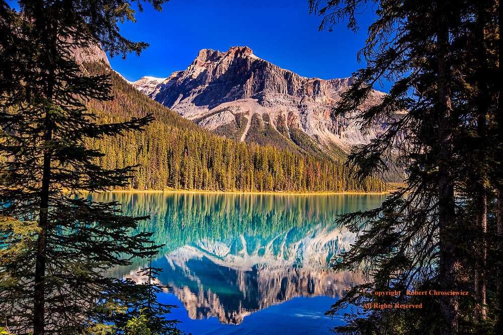 Emerald Lake: Under a clear blue morning sky, President Mountain and the heavily forested hillsides are mirrored in Emerald Lake, Yoho National Park, near to Field, British Columbia Canada.