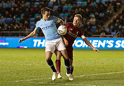 MANCHESTER, ENGLAND - Thursday, April 25, 2019: Liverpool's captain Paul Glatzel (R) and Manchester City's captain Eric Garcia during the FA Youth Cup Final match between Manchester City FC and Liverpool FC at the Academy Stadium. (Pic by David Rawcliffe/Propaganda)