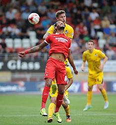 James Clarke of Bristol Rovers heads Paul McCallum of Leyton Orient - Mandatory byline: Neil Brookman/JMP - 07966386802 - 29/08/2015 - FOOTBALL - Matchroom Stadium -Leyton,England - Leyton Orient v Bristol Rovers - Sky Bet League Two