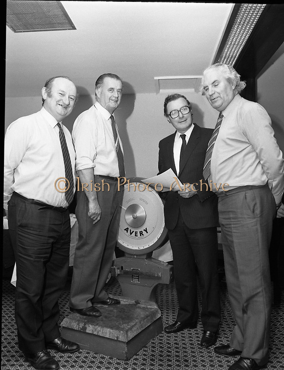 Dail Eireann Members Weigh In..1985..19.12.1985..12.19.1985..19th December 1985..As part of a Bord Iascaigh Mhara healthy eating campaign,several sitting members of Dail Eireann took part. Under the watchful eye of the Minister For Fisheries,Mr Paddy O'Toole TD the final weigh in was undertaken...Senator Jackie Daly,Fine Gael,takes his place on the scales flanked by Mr P.J.Sheehan TD,Fine Gael, The Minister for Fisheries,Mr Paddy O'Toole,Fine Gael and Mr John Wilson TD,Fianna Fail..