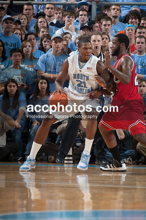 13 February 2010: North Carolina Tar Heels forward Deon Thompson (21) during a 61-74 win over the North Carolina State Wolfpack at the Dean E. Smith Center in Chapel Hill, NC.