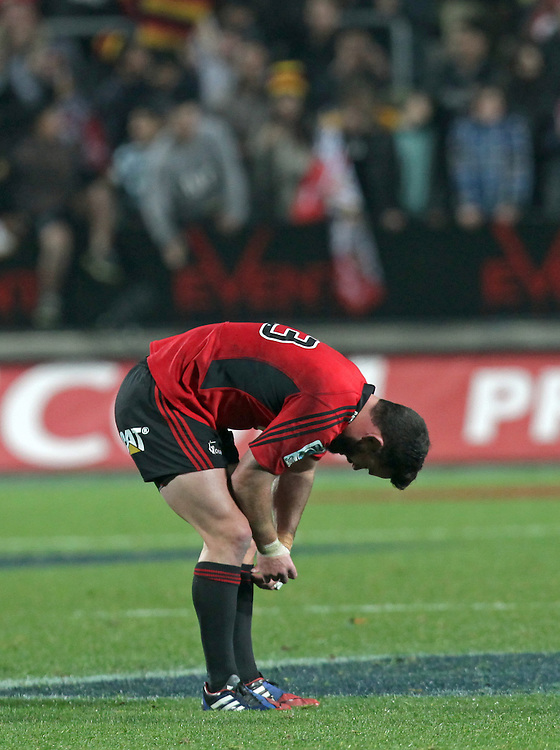 Crusaders' Ryan Crotty dejected after losing by one point to the Chiefs in a Super Rugby semi final match, Waikato Stadium, Hamilton, New Zealand, Saturday, July 27, 2013.  Credit:SNPA / David Rowland