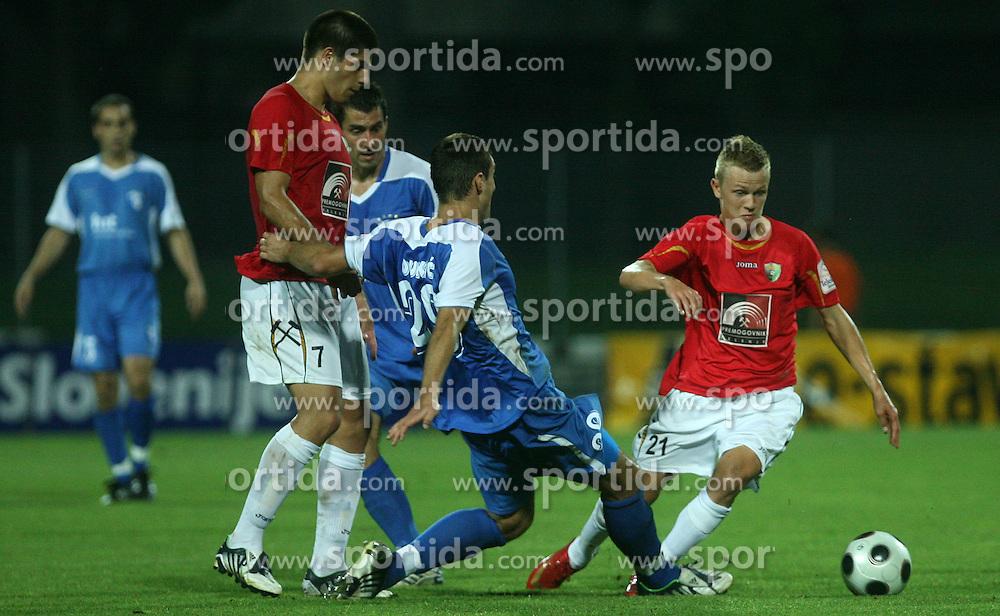 Bojan Dukic (29) of Gorica vs Nik Omladic (21) of Rudar at 3rd Round of PrvaLiga Telekom Slovenije between NK HIT Gorica vs NK Rudar Velenje, on August 1, 2008, in Nova Gorica, Slovenija. Rudar won the match 2:0. (Photo by Vid Ponikvar / Sportal Images)