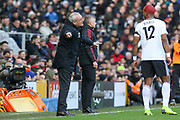 Fulham manager Claudio Ranieri gestures with Fulham striker Ryan Babel (12) during the Premier League match between Fulham and Manchester United at Craven Cottage, London, England on 9 February 2019.