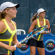August 21, 2016, New Haven, Connecticut: <br /> Dasha Kourkina and Michelle Sorokko in action during a US Open National Playoffs match at the 2016 Connecticut Open at the Yale University Tennis Center on Sunday, August  21, 2016 in New Haven, Connecticut. <br /> (Photo by Billie Weiss/Connecticut Open)