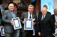REPRO FREE***PRESS RELEASE NO REPRODUCTION FEE***<br /> Irish Sailing Awards, Royal College of Surgeons, Stephen's Green, Dublin 4/2/2016<br /> National Yacht Club sailor Liam Shanahan was named the 2015 Irish Sailor of the Year today at the Irish Sailing Awards in Dublin - Shanahan had a remarkable year, including victory in the Dun Laoghaire to Dingle race in June on his boat Ruth with two miles to spare.<br /> Kilkenny's Doug Elmes and Malahide's Colin O'Sullivan jointly took home the Irish Sailing Association (ISA) Youth Sailor of the Year award. The Howth Yacht Club sailors were hotly tipped following their recent Bronze medal success at the 2015 Youth World Championships in Malaysia, where they took Ireland's first doublehanded youth worlds medal in 19 years.<br /> The Mitsubishi Motors Sailing Club of the Year award was presented to the Royal Irish Yacht Club in honour of their success at local, national and international level.<br /> Mullingar Sailing Club took home the ISA Training Centre of the Year award, having been nominated as winners of the western-region Training Centre of the Year.<br /> Pictured is David Gorman and Chris Doorly, Sailor of the Month winner for September, and David Lovegrove, President ISA<br /> Mandatory Credit ©INPHO/Cathal Noonan