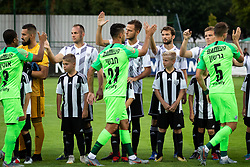 Players shaking hands before Football match between NS Mura (SLO) and Maccabi Haifa (IZR) in First qualifying round of UEFA Europa League 2019/20, on July 18, 2019, in Stadium Fazanerija, Murska Sobota, Slovenia. Photo by Blaž Weindorfer / Sportida