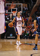 Mar. 19 2010; Phoenix, AZ, USA; Phoenix Suns guard Steve Nash (13) dribbles the ball during the first half at the US Airways Center.  The Suns defeated the Jazz 110-100. Mandatory Credit: Jennifer Stewart-US PRESSWIRE.