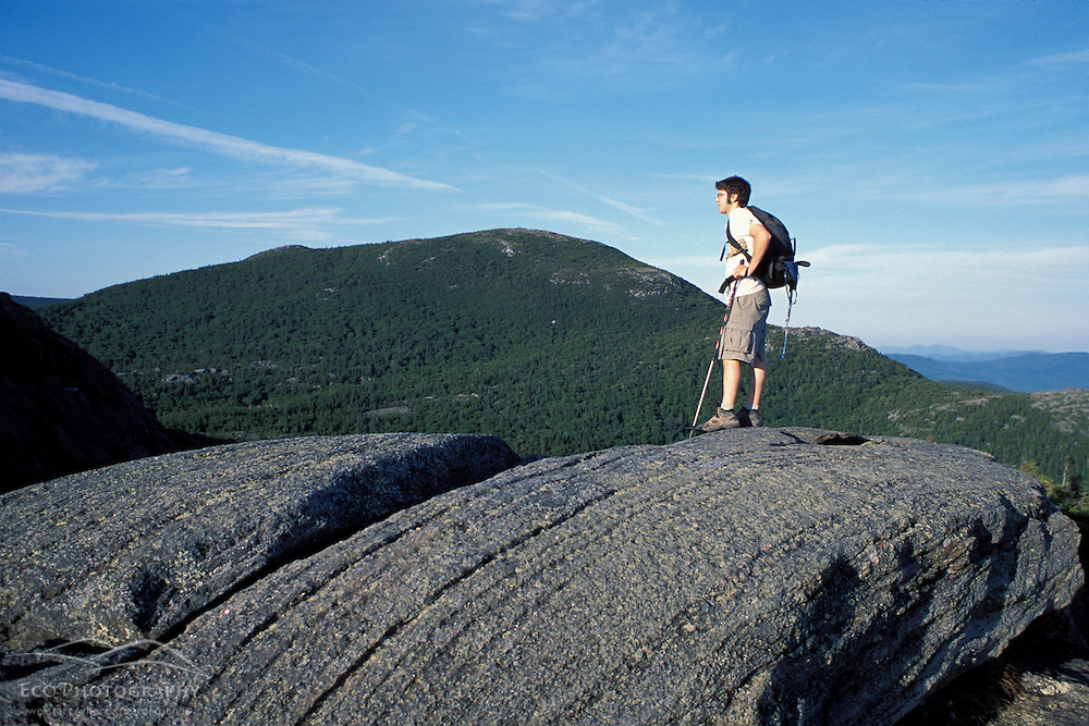 Weld, ME. Standing on the east peak of Tumbledown Mountain.  Little Jackson Mountain is in the distance. Northern Forest.
