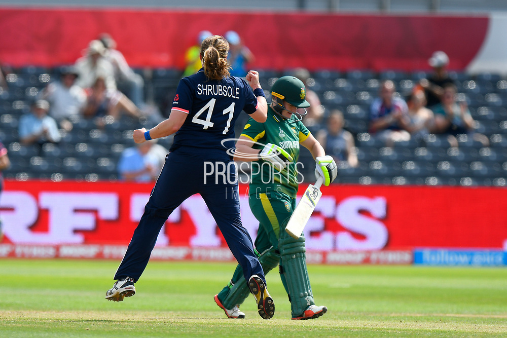 Wicket - Anya Shrubsole of England celebrates taking the wicket of Lizelle Lee of South Africa who was bowled during the ICC Women's World Cup semi final match between England and South Africa at the Bristol County Ground, Bristol, United Kingdom on 18 July 2017. Photo by Graham Hunt.