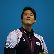 Taehwan Park, Korea, medal in the Men's 400m Freestyle event during the swimming finals at the Aquatic Centre at Olympic Park, Stratford during the London 2012 Olympic games. London, UK. 28th July 2012. Photo Tim Clayton