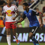 Khari Stephenson, San Jose Earthquakes, in action during the New York Red Bulls Vs San Jose Earthquakes, Major League Soccer regular season match at Red Bull Arena, Harrison, New Jersey. USA. 19th July 2014. Photo Tim Clayton