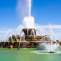 Clarence F. Buckingham Memorial Fountain in Chicago is located in Grant Park and is one of Chicago's most popular and well known attractions. Photo is high resolution and was taken in May 2012.