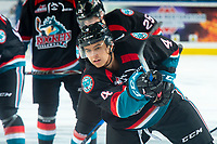 KELOWNA, CANADA - SEPTEMBER 22:  Devin Steffler #4 of the Kelowna Rockets warms up against the Kamloops Blazers on September 22, 2018 at Prospera Place in Kelowna, British Columbia, Canada.  (Photo by Marissa Baecker/Shoot the Breeze)  *** Local Caption ***