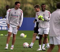 Photo: Paul Thomas.<br /> England Training Session. 01/09/2006.<br /> <br /> Wayne Bridge and Ashley Cole (R).