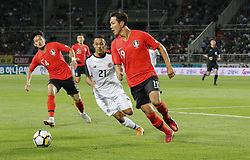 September 7, 2018 - Goyang, Gyeonggi, South Korea - September 7, 2018-Goyang, South Korea-Kim Yonggwon of South Korea and Jimmy Marin of Costa Rica action on the field during an Football A Match South Korea vs Costa Rica at Goyang Sports Complex in South Korea. Match Won South KOrea, Score by 2-0. (Credit Image: © Ryu Seung-Il/ZUMA Wire)