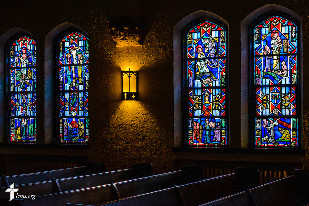 Stained glass at Luther Memorial Chapel on Friday, Jan. 29, 2016, in Shorewood, Wis. LCMS Communications/Erik M. Lunsford
