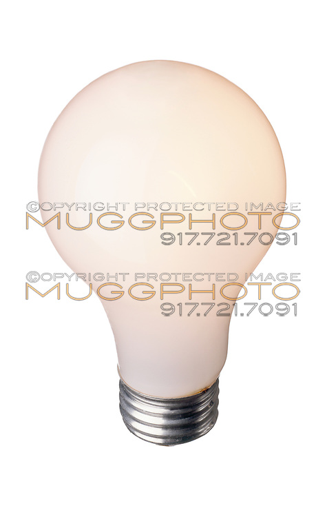 A General Electric soft white lightbulb in the on position.