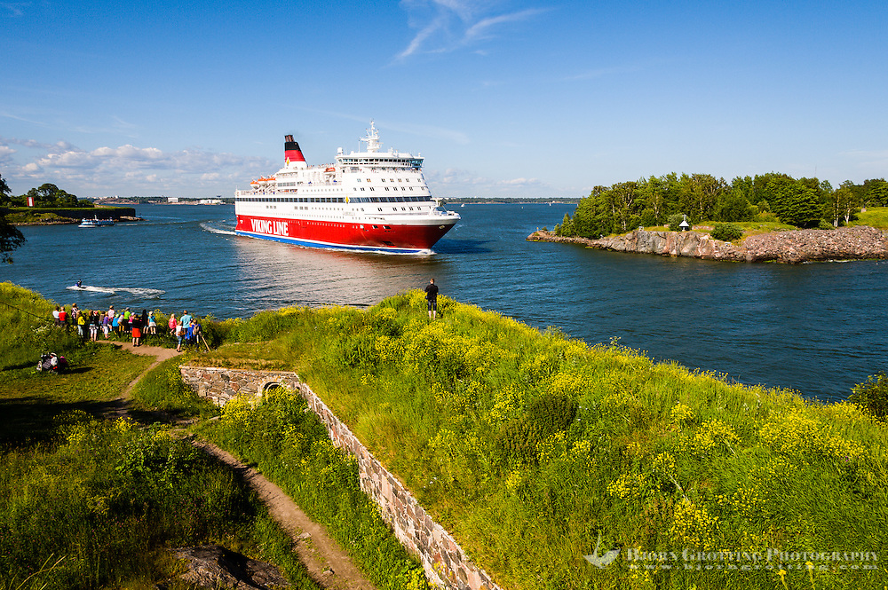 Finland, Helsinki. Suomenlinna sea fortress. Viking Line ferry passing through the Kustaanmiekka strait after leaving Helsinki for Stockholm.