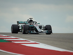 October 20, 2018 - Austin, USA - Mercedes AMG Petronas driver Lewis Hamilton (44) of Great Britain rounds Turn 10 during qualifying at the Formula 1 U.S. Grand Prix at the Circuit of the Americas in Austin, Texas on Saturday, Oct. 20, 2018. Hamilton set a new track record and earned pole position for the Grand Prix on Sunday. (Credit Image: © Scott Coleman/ZUMA Wire)