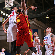 Canton Charge Forward JON HOLLAND (10) drives towards the basket as Philadelphia 76ers assignee, Center CHRISTIAN WOOD (33) defends in the first half of a NBA D-league regular season basketball game between the Delaware 87ers and the Canton Charge Tuesday, JAN, 26, 2016 at The Bob Carpenter Sports Convocation Center in Newark, DEL.