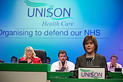 Nicola Sturgeon MSP, speaking at the Unison Health Care Service Group Conference..© Martin Jenkinson, tel 0114 258 6808 mobile 07831 189363 email martin@pressphotos.co.uk. Copyright Designs & Patents Act 1988, moral rights asserted credit required. No part of this photo to be stored, reproduced, manipulated or transmitted to third parties by any means without prior written permission.