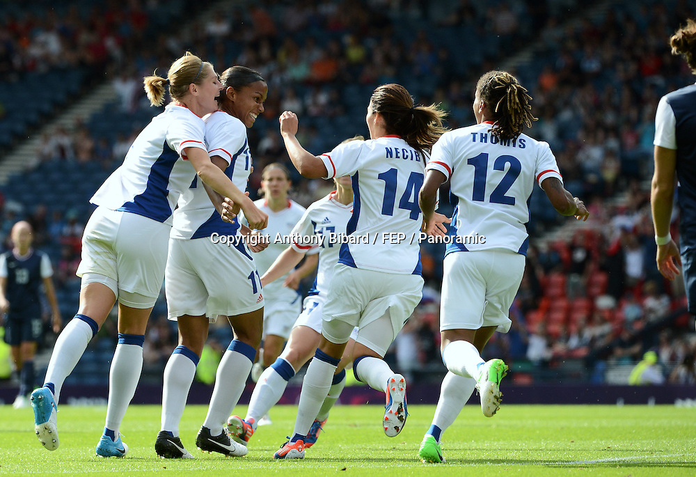 Louisa NECIB (fra) - Marie Laure DELIE (fra) - Corine FRANCO (fra), FOOTBALL Womens : France vs United States, London 2012 Olympic Games, 25 July 2012. Photo: Panoramic/photosport.co.nz