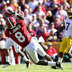 November 6, 2010; Baton Rouge, LA, USA; Alabama Crimson Tide wide receiver Julio Jones (8) makes a catch against the LSU Tigers during the first half at Tiger Stadium.  Mandatory Credit: Derick E. Hingle