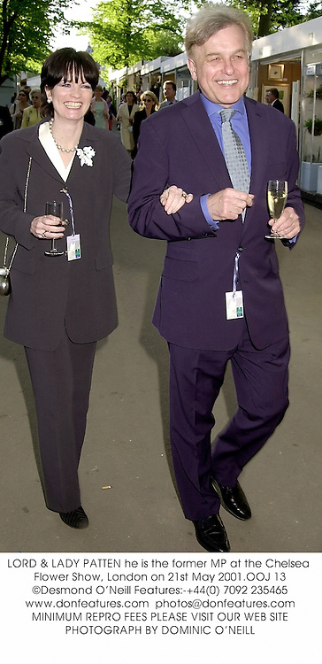 LORD & LADY PATTEN he is the former MP at the Chelsea Flower Show, London on 21st May 2001.OOJ 13