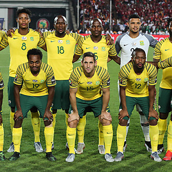 06 July 2019, Egypt, Cairo: South Africa players pose for the team photo prior to the start of the 2019 Africa Cup of Nations round of 16 soccer match between Egypt and South Africa at Cairo International Stadium. Photo : PictureAlliance / Icon Sport