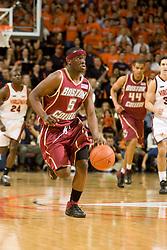 Boston College guard Biko Paris (5) dribbles up court against Virginia.  The Virginia Cavaliers men's basketball team defeated the Boston College Golden Eagles 84-66 at the John Paul Jones Arena in Charlottesville, VA on January 19, 2008.