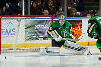 KELOWNA, BC - JANUARY 19:  Ian Scott #33 of the Prince Albert Raiders defends the net against the Kelowna Rockets at Prospera Place on January 19, 2019 in Kelowna, Canada. (Photo by Marissa Baecker/Getty Images)***Local Caption***