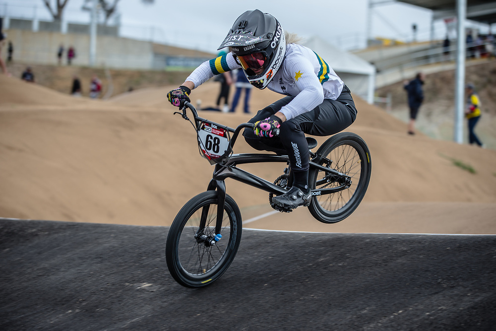 #68 (BUCHANAN Caroline) AUS at Round 3 of the 2020 UCI BMX Supercross World Cup in Bathurst, Australia.