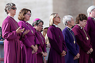 Rome oct 7th 2015, weekly general audience in St Peter's Square. In the picture some american women bishops of episcopal church pray with pope