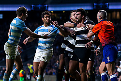Damian de Allende of Barbarians cuts a angry figure after getting kicked by Sebastian Cancelliere of Argentina - Mandatory by-line: Robbie Stephenson/JMP - 01/12/2018 - RUGBY - Twickenham Stadium - London, England - Barbarians v Argentina - Killick Cup