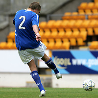 St Johnstone v Queen of the South..06.08.05<br />Ryan Stevenson fires home Saints third goal<br /><br />Picture by Graeme Hart.<br />Copyright Perthshire Picture Agency<br />Tel: 01738 623350  Mobile: 07990 594431