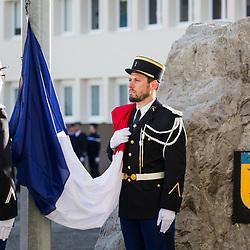 Cérémonie d'hommage aux personnels de la gendarmerie morts dans l'accomplissement de leur devoir du groupement de gendarmerie de Haute-Savoie en présence des autorités civiles et militaires. <br /> Février 2019 / Annecy (74) / FRANCE<br /> Voir le reportage complet (90 photos) https://sandrachenugodefroy.photoshelter.com/gallery/2019-02-Gendarmerie-departementale-Annecy-Complet/G0000z70yEIPiTjg/C0000yuz5WpdBLSQ