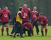 03/03/2004 Six Nations Rugby England Training- ENG v IRL. Pennyhill Park- Bagshot.Phil Larder, masked by Andy Gomersall .coaches [facing left to right] Trevor Woodman. Ben Kay Paul Grayson [kneeling] Matt Dawson and Matt Stevens ...   [Mandatory Credit, Peter Spurier/ Intersport Images].