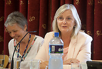 Siún Ní Raghallaigh (Ardmore Studios and Troy Studios) and Elaine Geraghty (Screen Producers Ireland) at the 'Shaping Film Production in Ireland - the next 10 years' Panel Discussion at the Galway Film Fleadh, Galway Rowing Club, Galway, Ireland. Saturday 14th July 2018